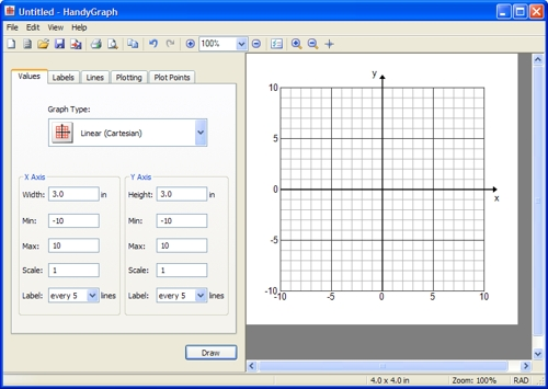 Screenshot of HandyGraph making a coordinate grid
